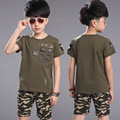 The boy Camo short suit two piece children children summer T-shirt suit