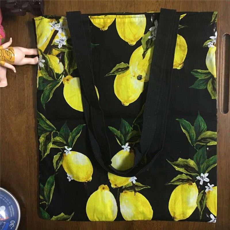 YILE Lining Cotton Linen Eco Shopping Tote Shoulder Bag Fruit Yellow lemon 1756-5(China)
