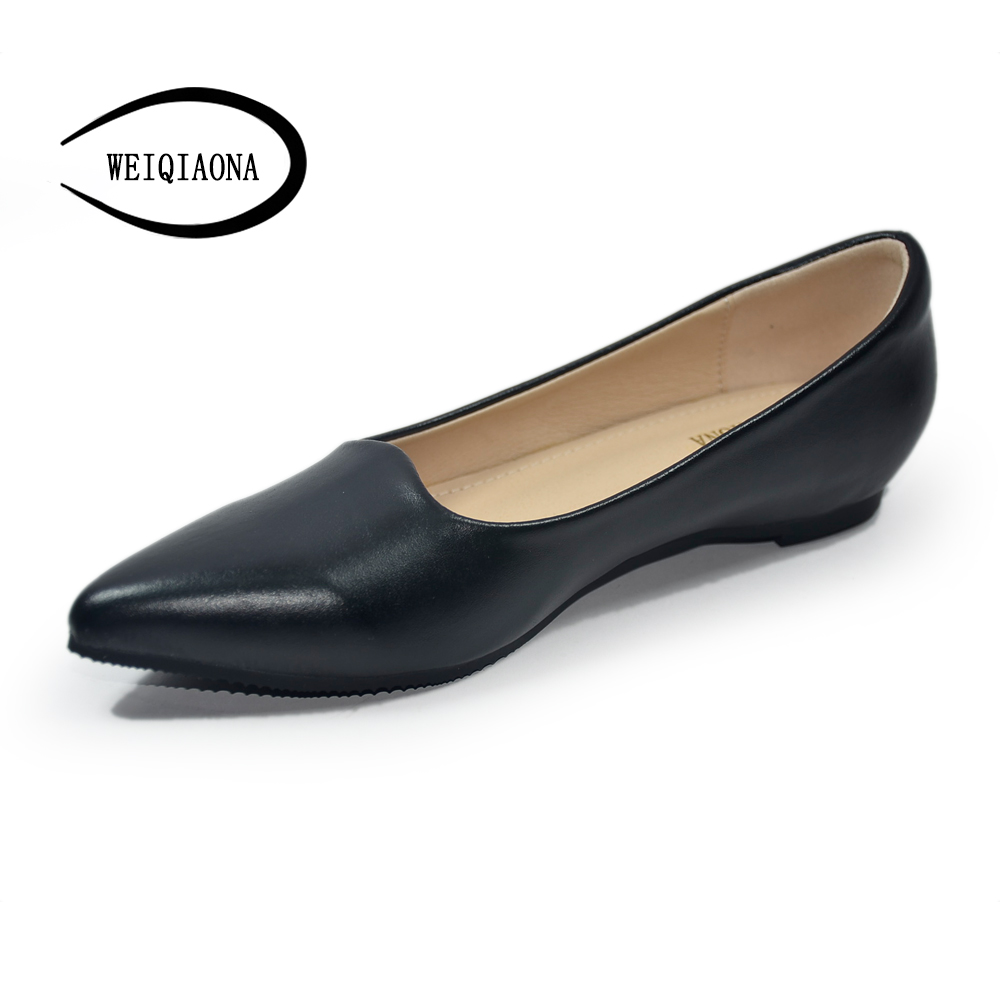WEIQIAONA 2018 New Mother shoes Fashion casual ladies flats pointed toe shallow Increased within Female wild single women shoes lin king fashion pearl pointed toe women flats shoes new arrive flock casual ladies shoes comfortable shallow mouth single shoes