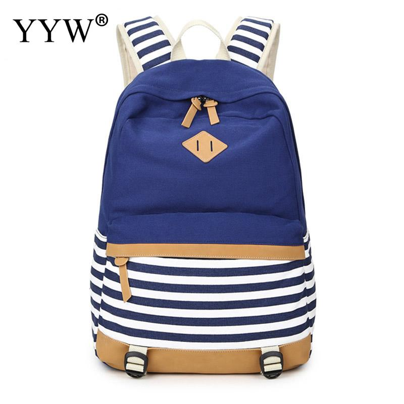 Casual Backpack Female Striped Blue Backpacks for Adolescent Girls Soft Handle Zipper Khaki School Bag Black Laptop Backpack brief adolescent therapy homework planner