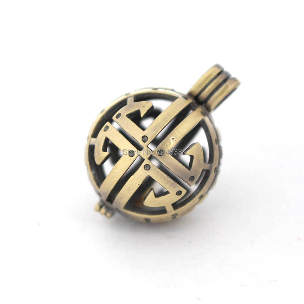 30x21mm Vintage Filigree Hollow Cage Round Ball Locket Pendants For DIY Rhinestone Essential Oil Diffuser Perfume Chime Making