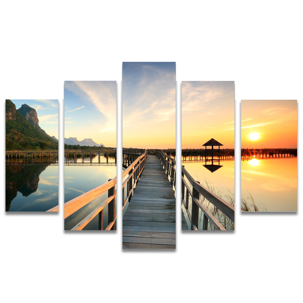 Unframed Canvas Painting Sunlight Boardwalk Lake Photo Picture Prints Wall Picture For Living Room Wall Art Decoration