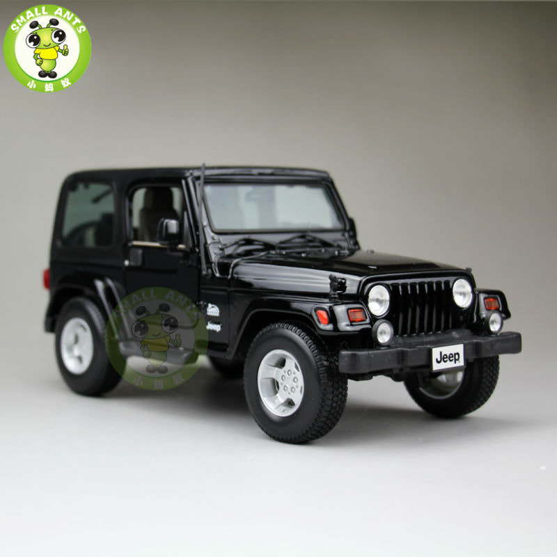 1:18 Scale Jeep Wrangler Sahara Diecast Car Suv Model Maisto 31662 Black maisto diecast car 1 18 scale jeep wrangler willys model car off road vehicle with openable doors toy for children gift page 5