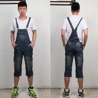 Plus Size uomo 8XL polpaccio Denim Multi-tasca Tute Maschile Jeans Bretella Pantaloni cargo Moda cowboy Bib tuta 062903