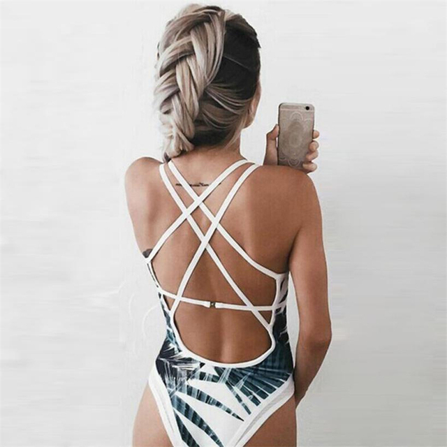 2018 New Summer Bandage Leaves bodysuit Women's One Piece Beach Sea Bathing Push Up Padded body feminino Jumpsuits vadim