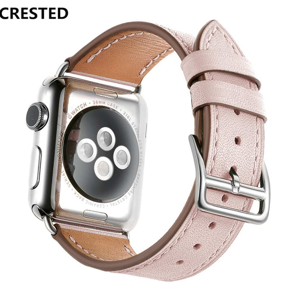 CRESTED Leather strap For Apple Watch band 42mm 38mm single tour iWatch series 3 2 1 wrist bands Fashion women men Bracelet belt crested crazy horse strap for apple watch band 42mm 38mm iwatch series 3 2 1 leather straps wrist bands watchband bracelet belt