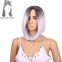 Desire için saç 12 inç 30 cm kısa Bob tarzı kâğıt oyunu gri japon ısıya dayanıklı fiber sentetik dantel ön peruk siyah için kadın