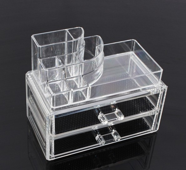 Acrylic Makeup Organizer Crystal 2 Drawer Storage Cosmetic