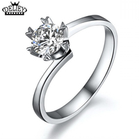 Luxury Simulated Diamond Rings For Women Sterling Silver Engagement Rings Wedding Ring Free Shipping