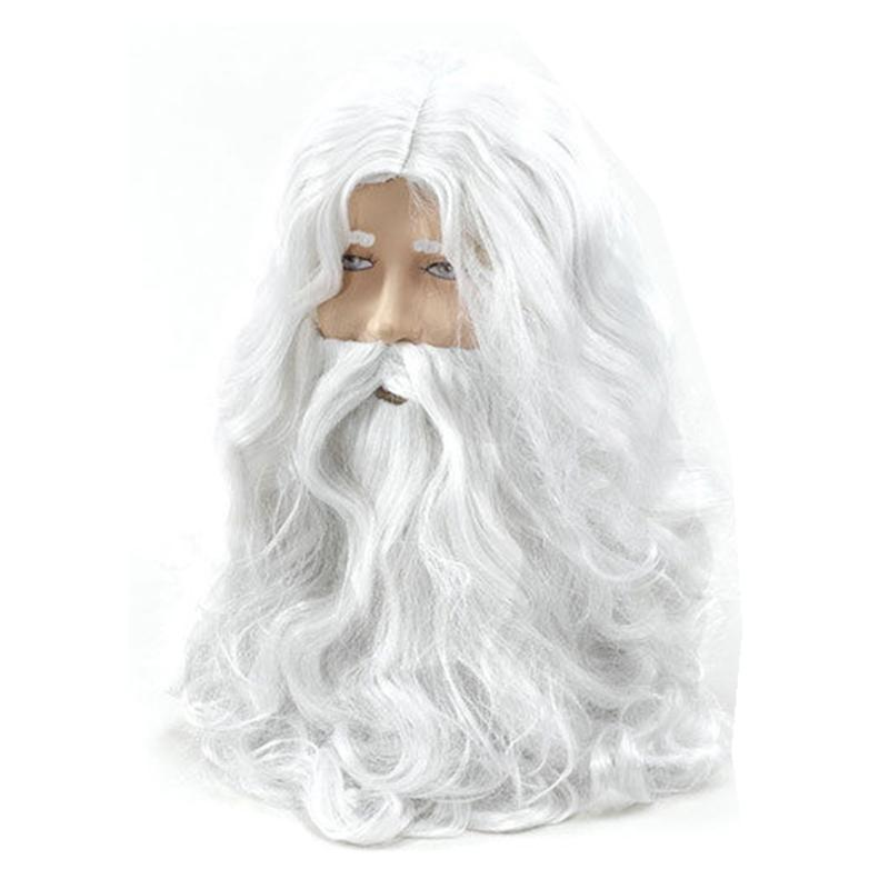Deluxe White Santa Fancy Dress Costume Wizard Wig And Beard Set Christmas Halloween New Year Decoration