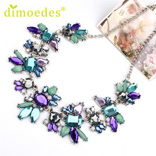 Best Deal New Fashion Diomedes Women Delicate Necklace Rhinestones Flowers Chain Crystal Necklace Jewelry Gift 1PC