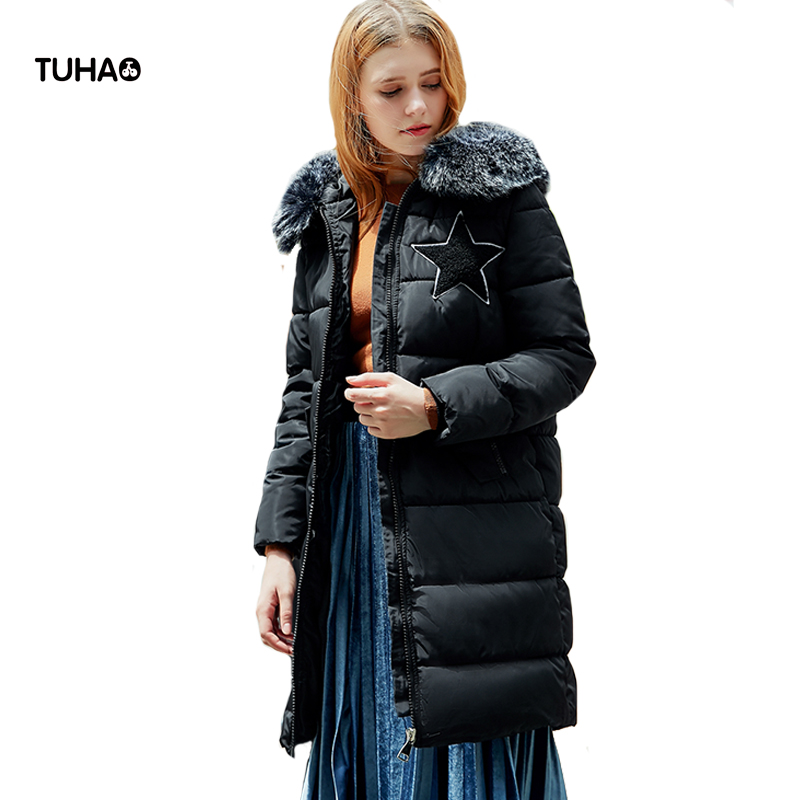 TUHAO Winter Coats Women Clothing Faux Fur Trim Hooded Star Letter Embroidery Casual Parka Long Jacket Manteau Femme Hiver TRP01 tuhao lady down cotton pure color manteau femme hiver thick warm jackets 2017 new autumn winter women hooded long coats lw20