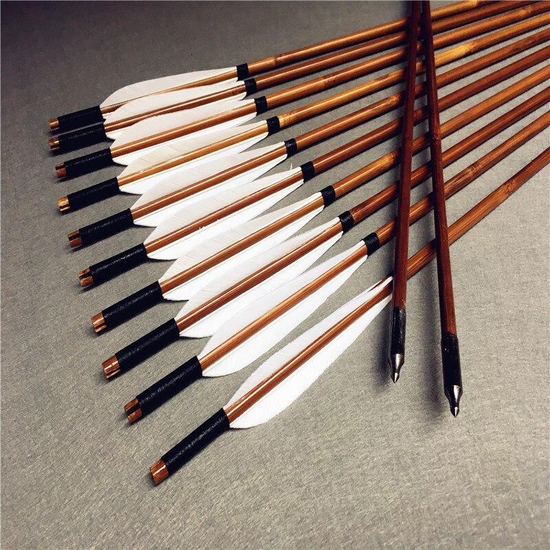 Flechas de Bambu Penas de Peru para Arco Longo e Recurvo para Caça Artesanais Peças 6 – 12 24