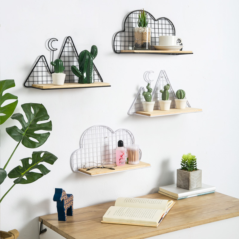Global Views Wall Shelf: Solid Wooden Iron Decorative Wall Shelf Partition Board