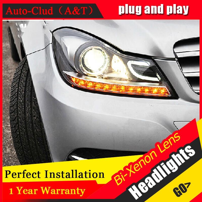 Car Styling LED Head Lamp for Benz W204 headlights 2011-2013 C180 C200 C260 led headlight led H7 hid Bi-Xenon Lens low beam