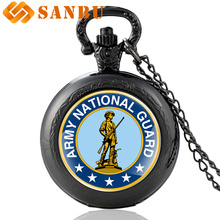 38128975df6 Guarda Nacional Do Exército Dos Estados Unidos do vintage Preto Retro  Relógio de Bolso Colar Relógio
