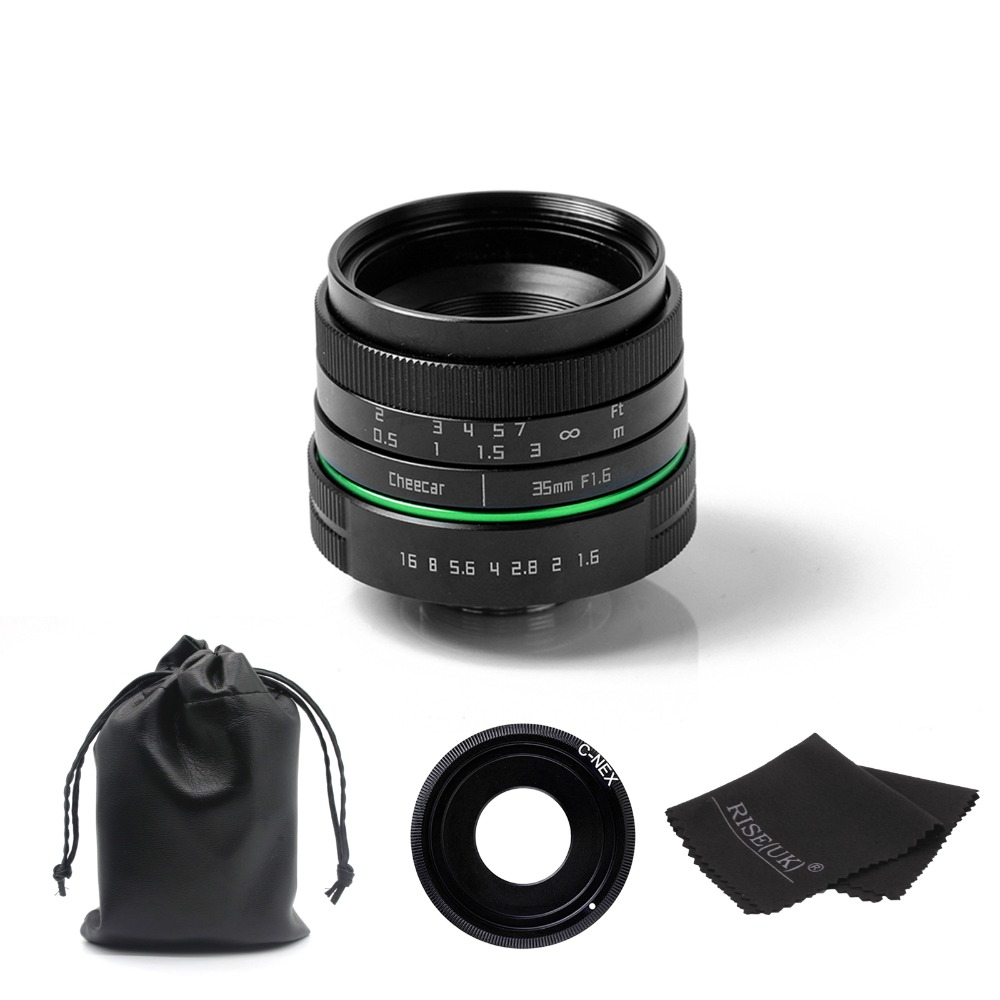 (Kits)metal 35mm APS-C camera lens +E-mount adapter ring + lens bag for Sony NEX Micro-camera free shipping mirroless for aps c camera 35mm f 1 6 33mm f1 6 for micro camera free shipping