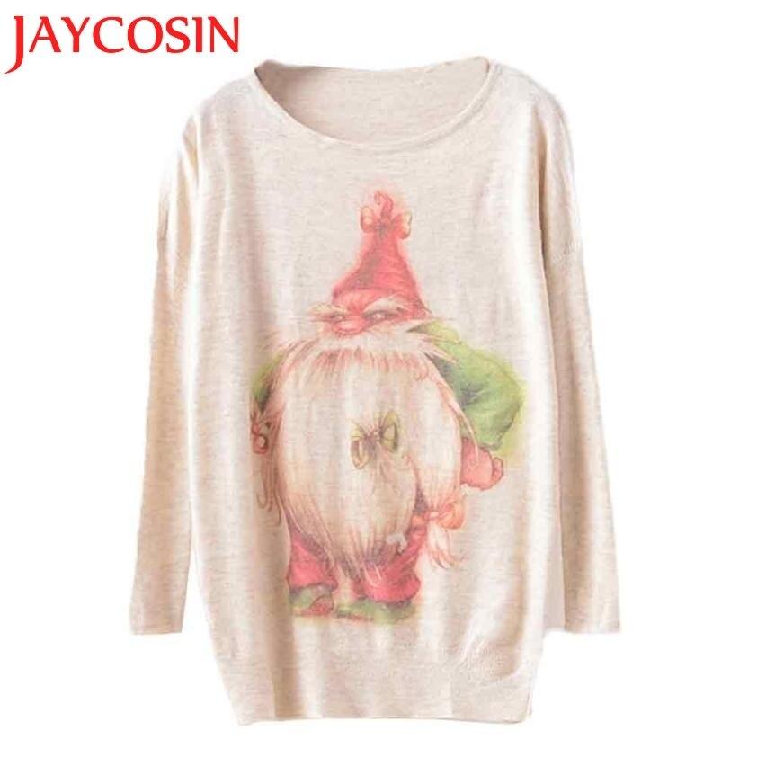 JAYCOSIN 2017 New Fashion Christmas Womens Batwing Long Sleeve Print Color Loose Knit Sweater Knitwear Tops Drop Shipping 118