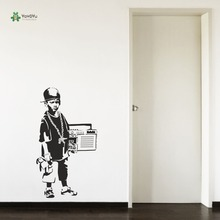 YOYOYU Wall Decal Teenagers Living Room Sticker Banksy Hip Hop Boy Radio Hallway Art Decoration YO130