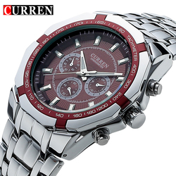 Top marca de luxo relógio curren casual militar quartzo esportes relógio pulso aço completo à prova dwaterproof água relógio masculino relogio masculino