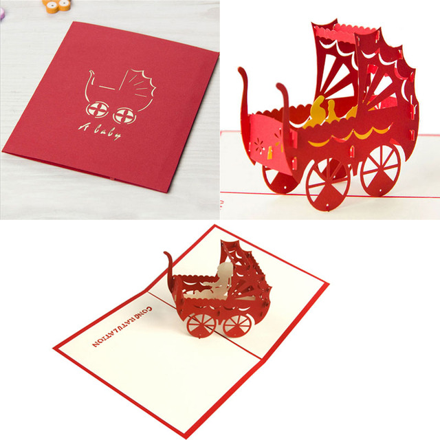 2017 pop up 3d card baby carriage birthday christmas custom 2017 pop up 3d card baby carriage birthday christmas custom greeting cards gift hot feb2830 negle Choice Image