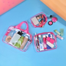 купить 3pc Transparent PVC Storage Bag Travel Organizer Clear Makeup Bag Beautician Cosmetic Bag Beauty Case Toiletry  Pouch Wash Bag дешево