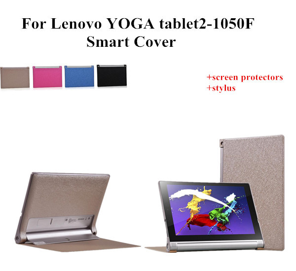 NEW 10.1 YOGA Tablet 2 1050F Smart Case For Lenovo Yoga Tablet 2-1050F Silk Print Leather Cover Case +screen protectors