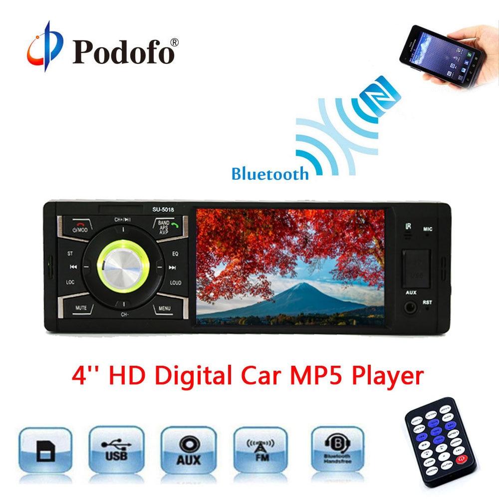 Podofo Авторадио 1din 4 цифровой Экран MP5 автомобилей радио-плеер стерео автомобильный мультимедийный плеер Bluetooth FM Авто электроника в -тире