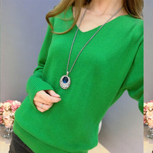 Cashmere sweater, loose V collar, bat sleeve, sweater, pure color, bottoming, knitted sweater, big code, fashionable недорого