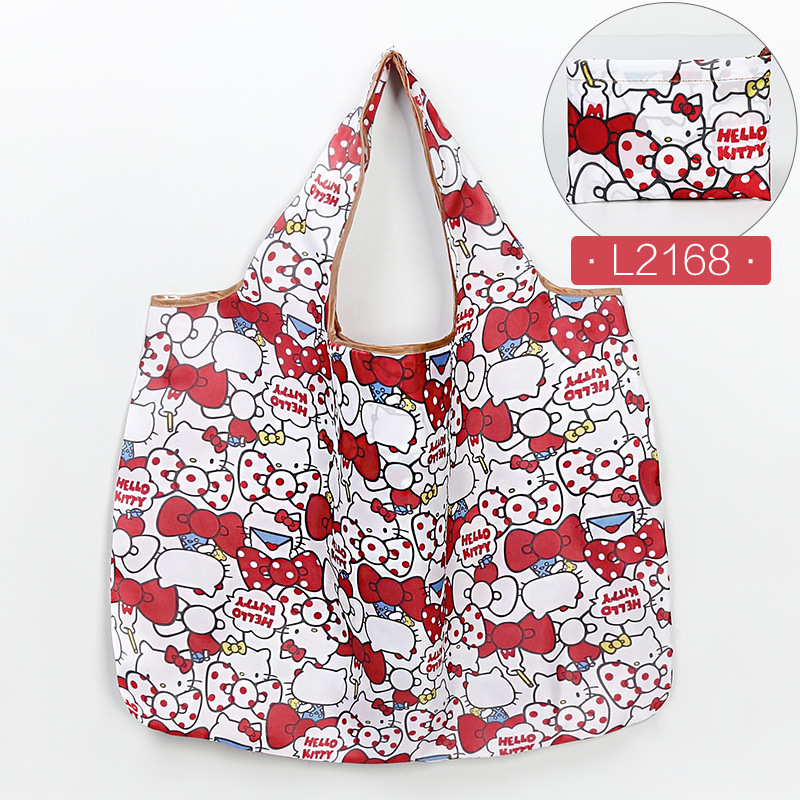 Large Polyester Foldable Recycle Shopping Bag Eco Reusable Shopping Tote Bag Cartoon Floral Fruit Vegetable Grocery