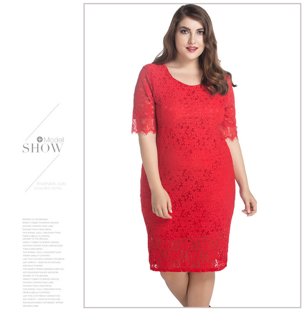 67eee521 oversized womens lace dress knee length O neck red white casual quality  clothing plus size 2017 pattern maxi size 3089 for fat