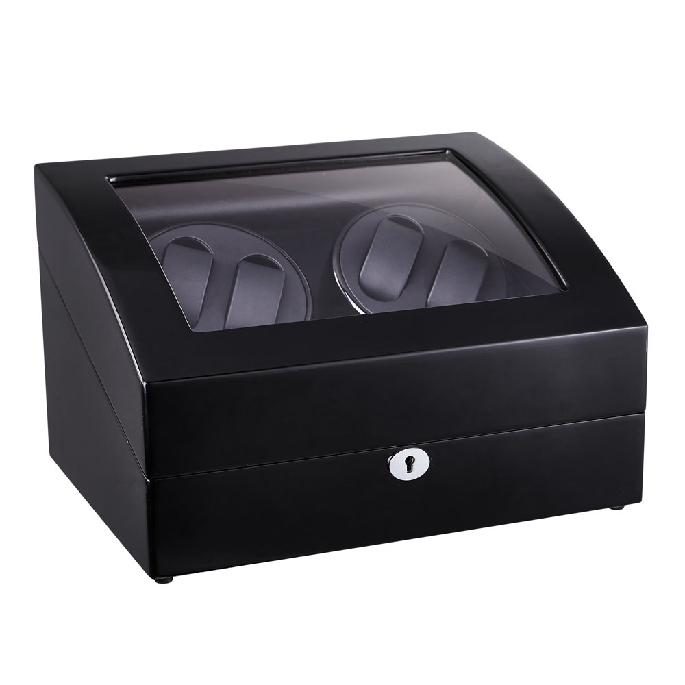 Watch Winder, LT Wooden Automatic Rotation 4 + 6 Watch Winder Storage Case Display Box (ydersiden er sort og indersiden er sort)