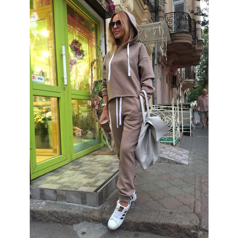 2019 New Hot 2pcs Set Hoodies Loose Hooded Tops Sweatshirt+Solid Long Pants 2 Pieces Sets Women Clothing Suits Female Tracksuit