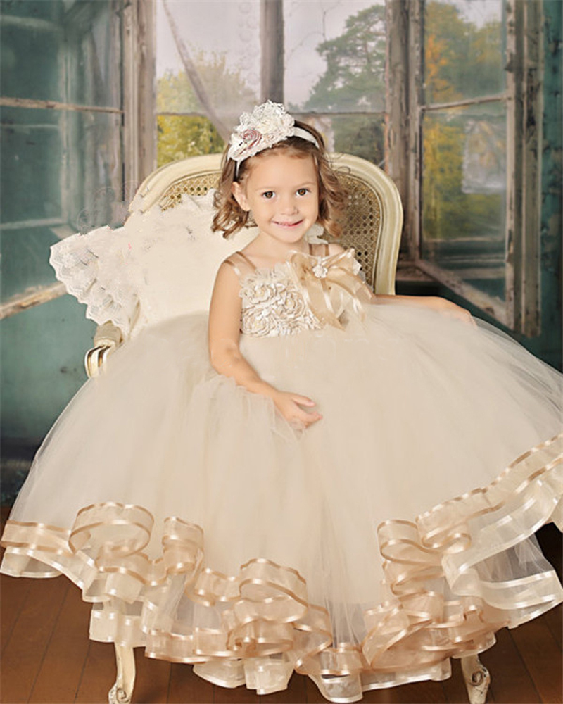 Dresses For Flower Girls For Weddings: Vintage Lace Rustic Champagne Color Spaghetti Straps