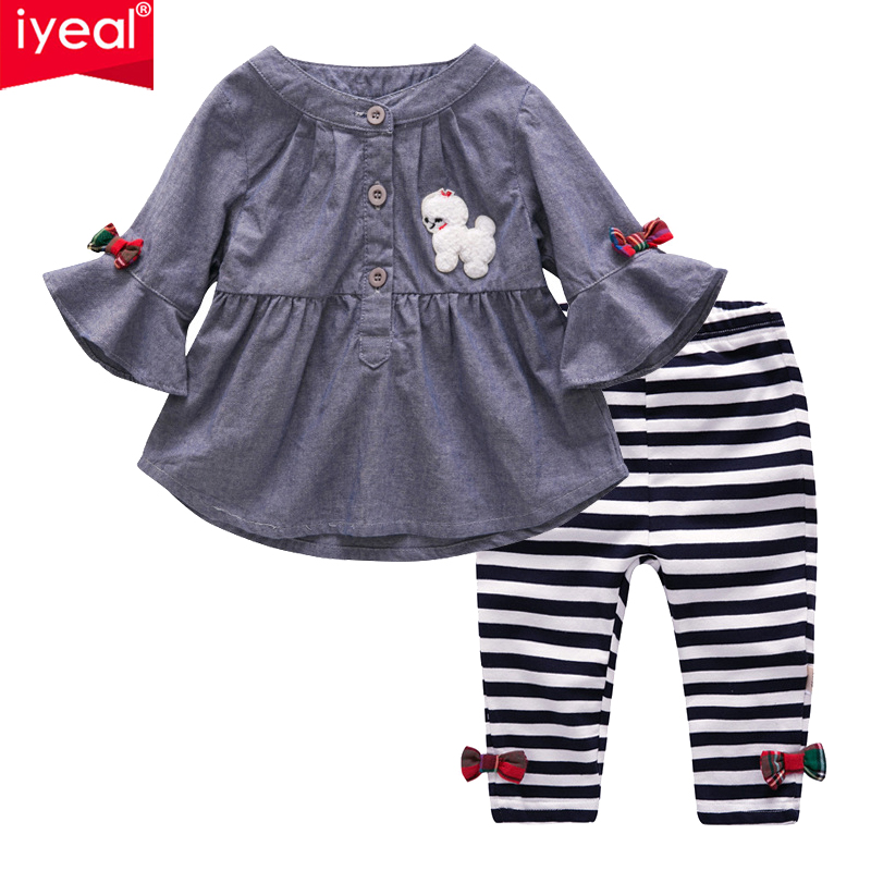 IYEAL Baby Girls Outfits Newborn Infant Kid Girls Clothes Set Flare Sleeve Tops Dresses +Leggings 2 Pieces/Set for Baby Clothes 3pcs set newborn infant baby boy girl clothes 2017 summer short sleeve leopard floral romper bodysuit headband shoes outfits