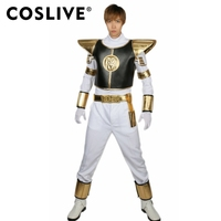 Coslive Ranger Power Deluxe White Ranger Helmet with Costume Suit for Adult Halloween Cosplay Full Suit For Men Adult