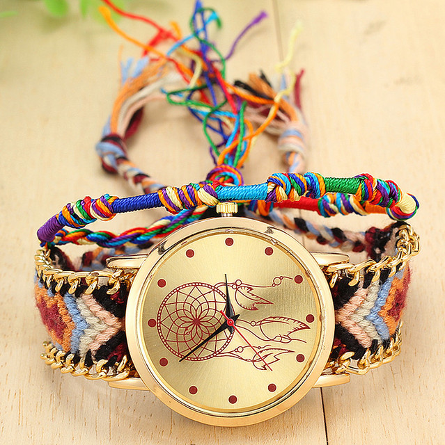 Handmade Braided Dreamcatcher Friendship Bracelet Watch Ladies Rope Watch Quarzt Watches Relogio Feminino  2