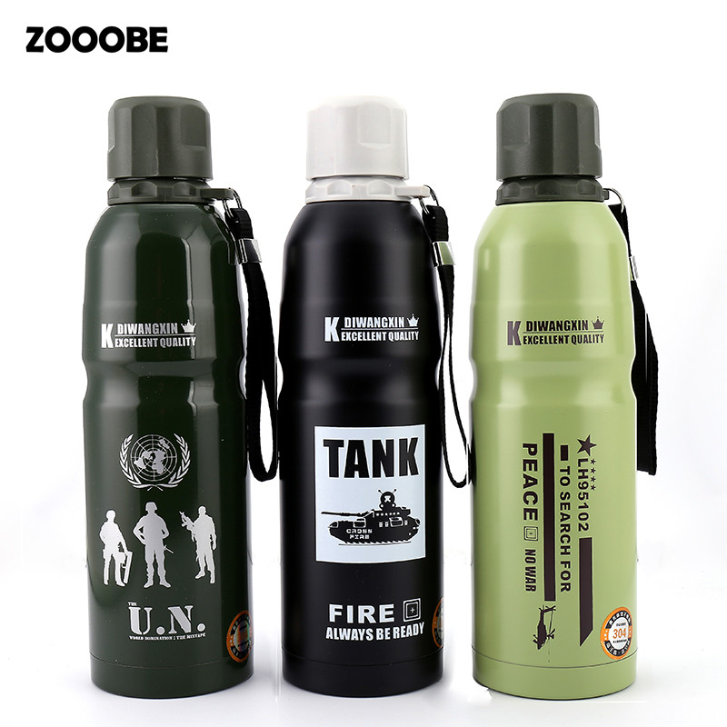 ZOOOBE 850ml Outdoor camping Stainless Steel Water Thermos Bottle Insulation For Sports Bicycle Travel Vacuum Flasks Man gift