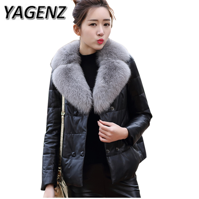 New 2018 Fashion Winter Down cotton Jacket Women Fox fur Short Coats High-end Warm Parkas Ms. PU Leather Jacket Women's Clothing 2018 winter pu leather jacket women down cotton coats high end slim thick warm parkas lady big fur collar jacket ladies clothing