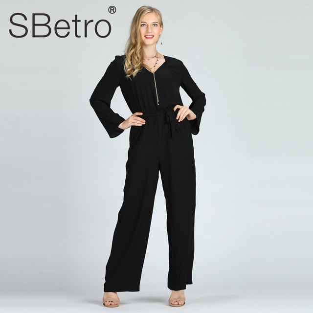 SBetro Solid Jumpsuit Chiffon Loose Ladies Casual Salopett Overall V Neck Waistband Female Bell Bottoms Trousers Autumn Spring