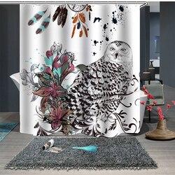 Custom Made zasłona prysznicowa kurtyna łazienkowa partycja + haczyki 1.5m x 1.8m 1.8m x 1.8m 1.8m x 2m ekologiczna sowa biała