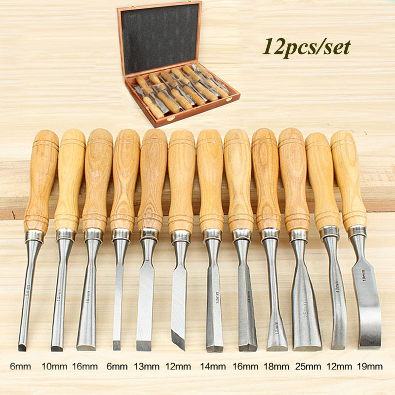 12 pcs Wood Carving Set Wood Working Tools Chisel Kit Carvers Graving Knife In Box chisel ferramentas marcenaria engraving tool цены онлайн