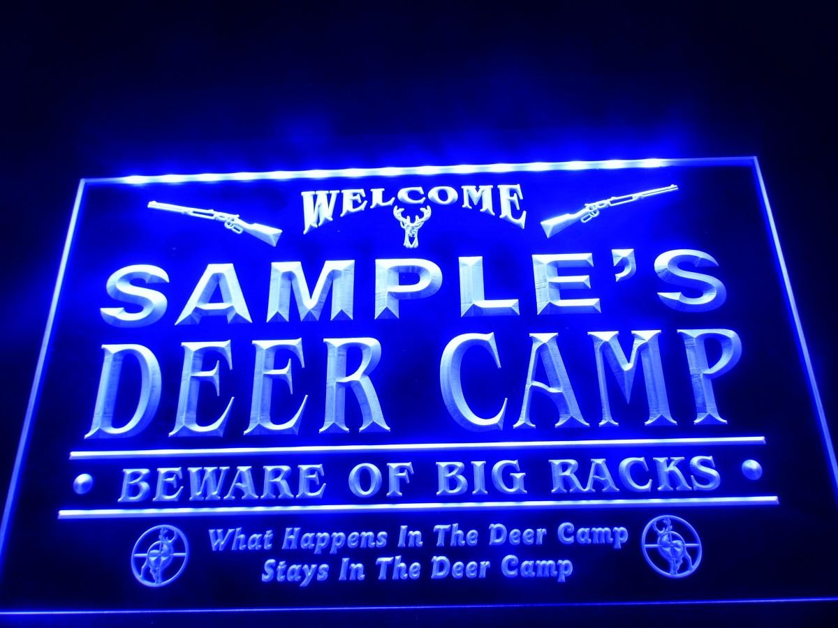 dz029 name personalized custom deer camp big racks bar beer neon sign hang sign home decor. Black Bedroom Furniture Sets. Home Design Ideas