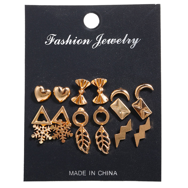 Women 9pairs/set Metal Snowflakes Elements Earrings Set Love Bow Stud Earrings For Women Girl Mixing Jewelry Perfect In Workmanship Jewelry & Accessories