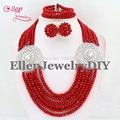 Rojo Joyería Conjunto Bolas de Cristal Collar de La Boda de Nigeria Perlas Africanas Joyería Conjunto Africano de La Joyería de Cristal Set E1039