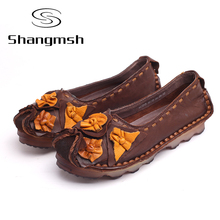 Genuine Leather Soft Bottom Shoes Handmade Flowers Women Loafers Shoes Casual Female Flats Design Driving Shoes plus size 10