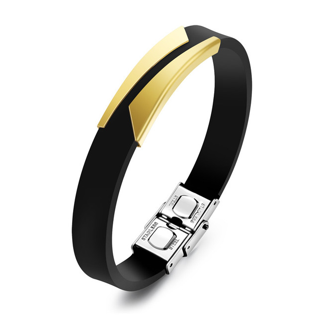 Linsoir 2017 Fashion Black Silicone Bracelet For Men Punk Gold Silver Color Stainless Steel Rubber