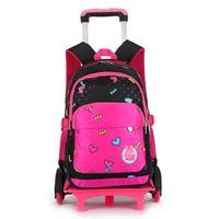 Removable Children School Bags Girls 3 Wheels Stairs Princess Bags Kids Trolley Schoolbag Luggage Book Bag