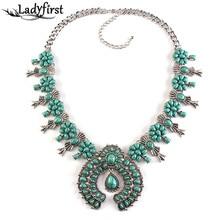 2016 New Fashion Women za Big Brand Turquoise Long Necklace Collar Choker Maxi Statement Necklace Choker Collar 2819