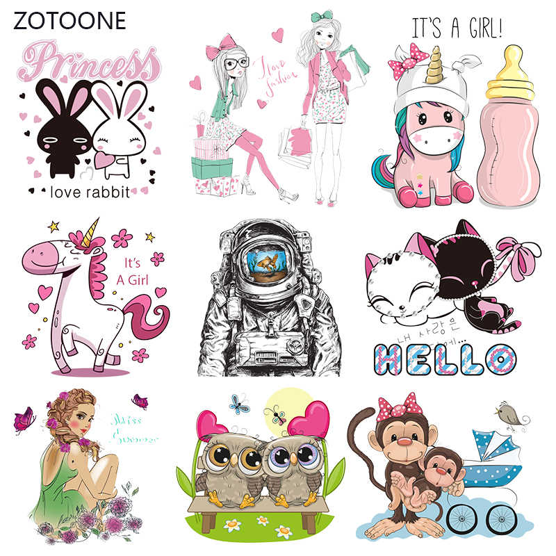 ZOTOONE Stripes Patches Iron on Transfer Pink Rabbit Dog Patches for T-shirts Girl Kid Clothing DIY Thermo Stickers on Clothes G